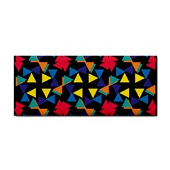 Colorful triangles and flowers pattern Hand Towel