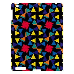 Colorful triangles and flowers pattern Apple iPad 3/4 Hardshell Case