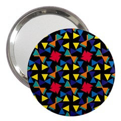 Colorful triangles and flowers pattern 3  Handbag Mirror