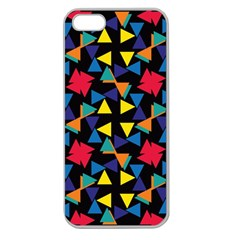 Colorful triangles and flowers pattern Apple Seamless iPhone 5 Case (Clear)