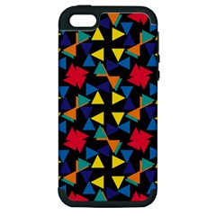 Colorful triangles and flowers pattern Apple iPhone 5 Hardshell Case (PC+Silicone)