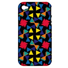 Colorful triangles and flowers pattern Apple iPhone 4/4S Hardshell Case (PC+Silicone)