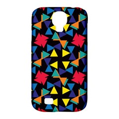 Colorful triangles and flowers pattern Samsung Galaxy S4 Classic Hardshell Case (PC+Silicone)