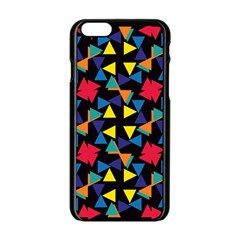 Colorful triangles and flowers pattern Apple iPhone 6 Black Enamel Case