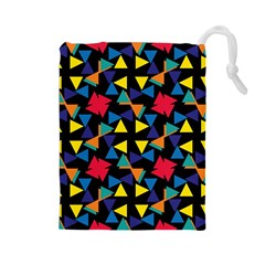 Colorful triangles and flowers pattern Drawstring Pouch