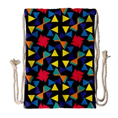 Colorful triangles and flowers pattern Large Drawstring Bag