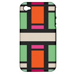 Rectangles cross Apple iPhone 4/4S Hardshell Case (PC+Silicone)