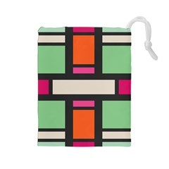 Rectangles cross Drawstring Pouch