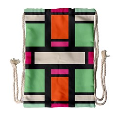 Rectangles Cross Large Drawstring Bag