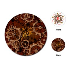 Steampunk In Rusty Metal Playing Cards (Round)