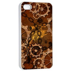 Steampunk In Rusty Metal Apple iPhone 4/4s Seamless Case (White)