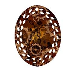 Steampunk In Rusty Metal Oval Filigree Ornament (2 Side)
