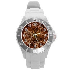 Steampunk In Rusty Metal Round Plastic Sport Watch (L)