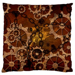 Steampunk In Rusty Metal Large Cushion Cases (Two Sides)