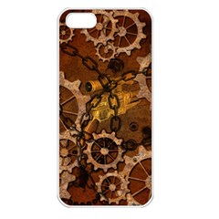 Steampunk In Rusty Metal Apple iPhone 5 Seamless Case (White)