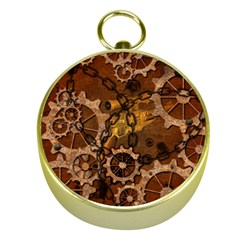 Steampunk In Rusty Metal Gold Compasses