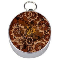 Steampunk In Rusty Metal Silver Compasses