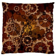 Steampunk In Rusty Metal Large Flano Cushion Cases (Two Sides)