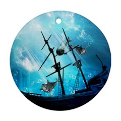 Underwater World With Shipwreck And Dolphin Ornament (Round)