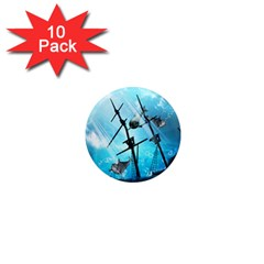 Underwater World With Shipwreck And Dolphin 1  Mini Magnet (10 pack)