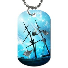 Underwater World With Shipwreck And Dolphin Dog Tag (Two Sides)