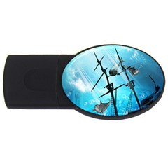 Underwater World With Shipwreck And Dolphin USB Flash Drive Oval (1 GB)