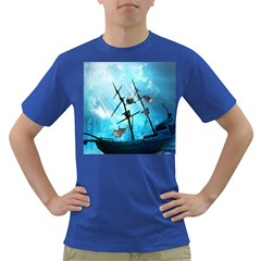 Underwater World With Shipwreck And Dolphin Dark T-Shirt