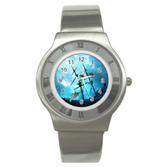 Underwater World With Shipwreck And Dolphin Stainless Steel Watches