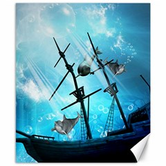 Underwater World With Shipwreck And Dolphin Canvas 8  x 10