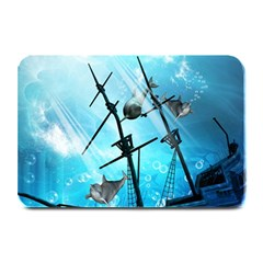Underwater World With Shipwreck And Dolphin Plate Mats