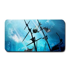 Underwater World With Shipwreck And Dolphin Medium Bar Mats