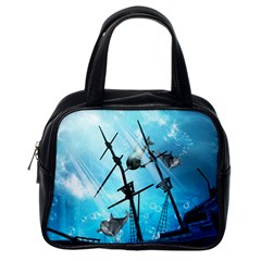 Underwater World With Shipwreck And Dolphin Classic Handbags (One Side)