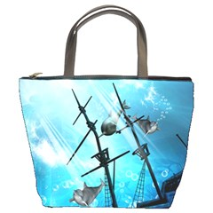 Underwater World With Shipwreck And Dolphin Bucket Bags