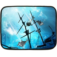 Underwater World With Shipwreck And Dolphin Fleece Blanket (mini)