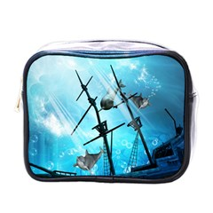 Underwater World With Shipwreck And Dolphin Mini Toiletries Bags
