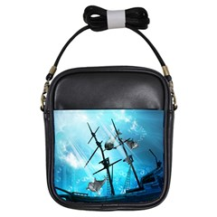 Underwater World With Shipwreck And Dolphin Girls Sling Bags