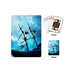 Underwater World With Shipwreck And Dolphin Playing Cards (mini)