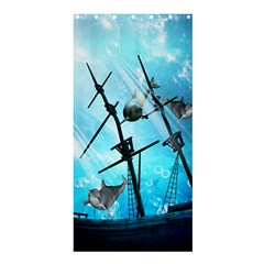 Underwater World With Shipwreck And Dolphin Shower Curtain 36  X 72  (stall)