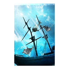 Underwater World With Shipwreck And Dolphin Shower Curtain 48  x 72  (Small)