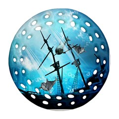 Underwater World With Shipwreck And Dolphin Ornament (Round Filigree)