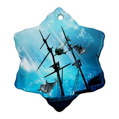 Underwater World With Shipwreck And Dolphin Snowflake Ornament (2-Side)
