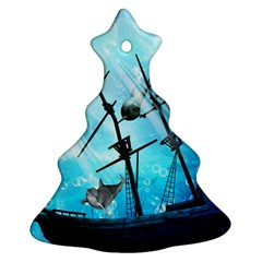 Underwater World With Shipwreck And Dolphin Christmas Tree Ornament (2 Sides)