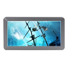 Underwater World With Shipwreck And Dolphin Memory Card Reader (Mini)