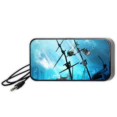 Underwater World With Shipwreck And Dolphin Portable Speaker (black)