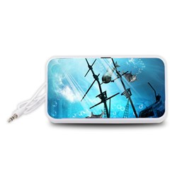 Underwater World With Shipwreck And Dolphin Portable Speaker (White)