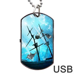 Underwater World With Shipwreck And Dolphin Dog Tag USB Flash (Two Sides)