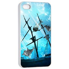 Underwater World With Shipwreck And Dolphin Apple iPhone 4/4s Seamless Case (White)