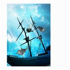 Underwater World With Shipwreck And Dolphin Small Garden Flag (Two Sides)