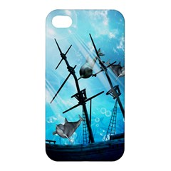 Underwater World With Shipwreck And Dolphin Apple iPhone 4/4S Premium Hardshell Case