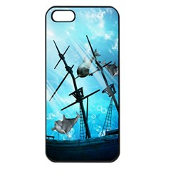 Underwater World With Shipwreck And Dolphin Apple iPhone 5 Seamless Case (Black)
